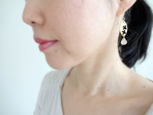 Flatter Gold Leaf Earrings with Rose Quartz Drop