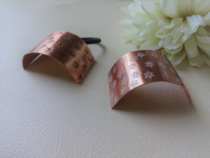 Floral Pony Cuff, Rectangle Copper Hair Tie.