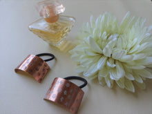 Load image into Gallery viewer, Floral Pony Cuff, Rectangle Copper Hair Tie.