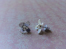 Load image into Gallery viewer, Tiny Silver Flower Studs, Handcrafted Flower Earrings For Her