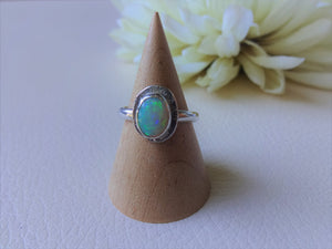 White Opal Bezel Setting Solitaire Silver Ring , US 5 /1/2.