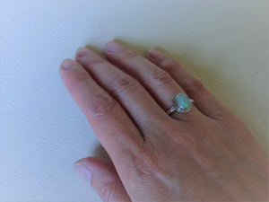 Bezel Setting Opal Silver Ring , US 5 /1/2