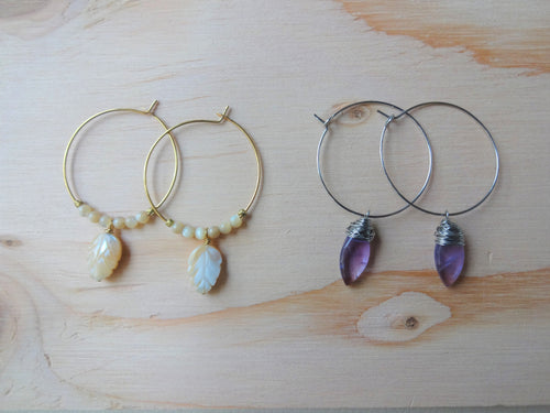 SALE, Gemstone Hoop Earrings.