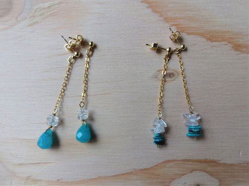 Gold Chain Earrings With Gems, Dainty Swing Earrings.
