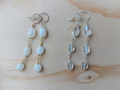 Linked Stones Earrings, Long Earrings, Moonstone or Blue topaz.