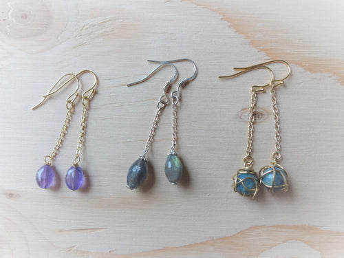 Simple Gemstone Solitaire Chain Earrings, Closeout Sale.