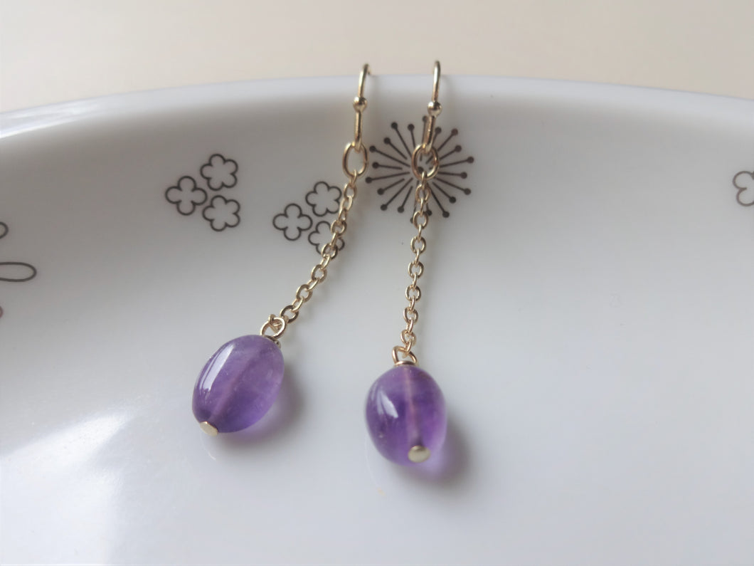 Simple Solitaire Chain Earrings, Amethyst, Labradorite Earrings