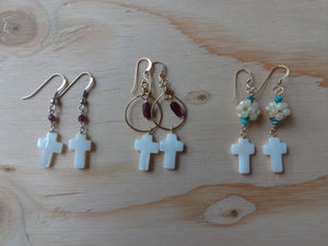 Cross and Gemstone Dangle Earrings.