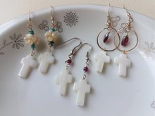 Load image into Gallery viewer, Cross and Gemstone Dangle Earrings.