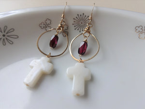 Cross Dangle Earrings with Gemstones, Gold-filled and Silver