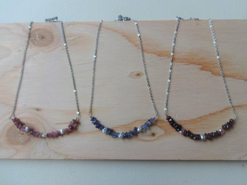 Gemstone Beaded Bar Necklace, Daily Dainty Jewelry For Her