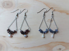 Load image into Gallery viewer, Triangle drop earrings with Garnet, Triangle chain earrings.
