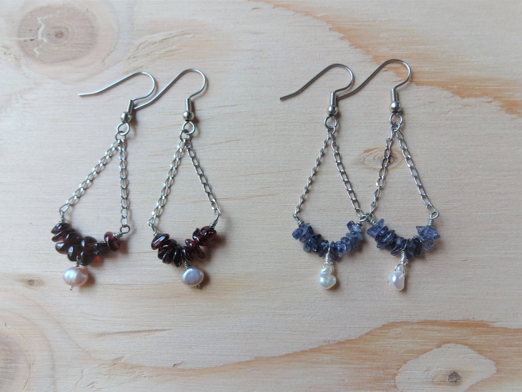 Triangle drop earrings with Garnet, Triangle chain earrings