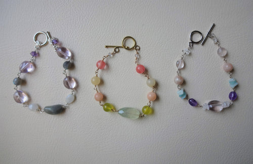 Multi Colors Beaded link bracelet, Gemstone Jewelry Gift For Her
