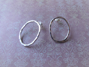 Silver Oval Loop Earrings, Minimalist Jewelry