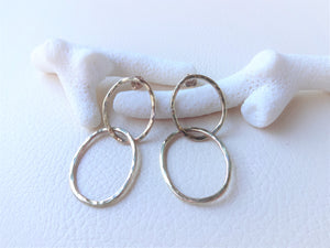 Gold Double Loop Earrings, Modern Minimalist Jewelry.