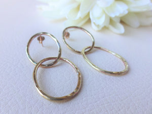 Gold Double Loop Earrings, Modern Minimalist Jewelry