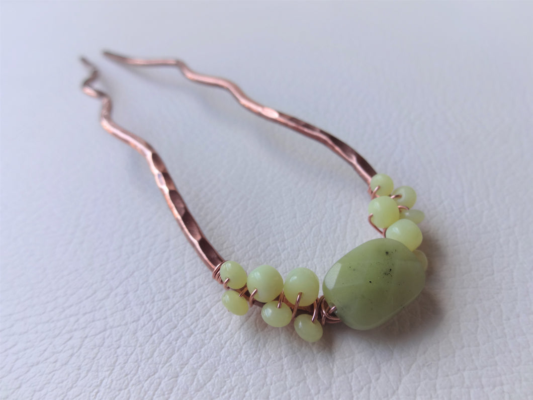 Beaded Metal Hair Fork, Chartreuse Hair accessories, Copper Bun Holder