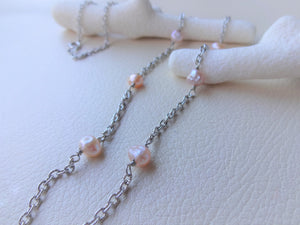Pink Pearl Eye Glasses Holder Necklace,  Silver Oval Loop Long Necklace.