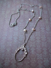 Load image into Gallery viewer, Pink Pearl Eye Glasses Holder Necklace,  Silver Oval Loop Long Necklace.