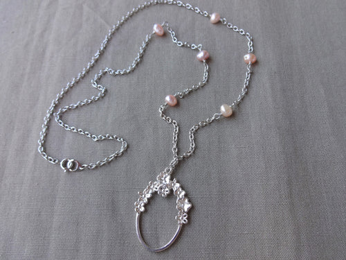 Pink Pearl Eye Glasses Holder Necklace, Silver Oval Loop Long Necklace