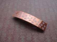 Load image into Gallery viewer, Flower Stamped, Copper Hair Barrette, Rectangle Metal Hair Clip