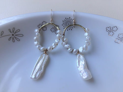 Pearl Hoop Earrings, Keshi Pearl, Bridal Pearl Jewelry