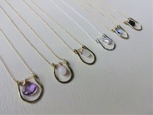 Horseshoe Necklace, Lucky Charm Pendant, Choose your Stone and Metal.