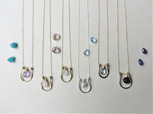 Horseshoe Necklace, Lucky Charm Pendant, Choose your Stone and Metal