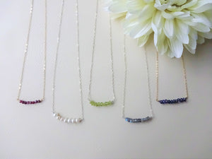 Dainty Beaded Bar Necklace, Choose Your Metal