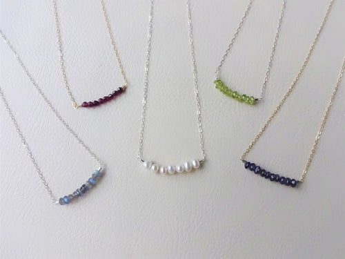 Dainty Beaded Bar Necklace, Choose Your Metal and Gems.