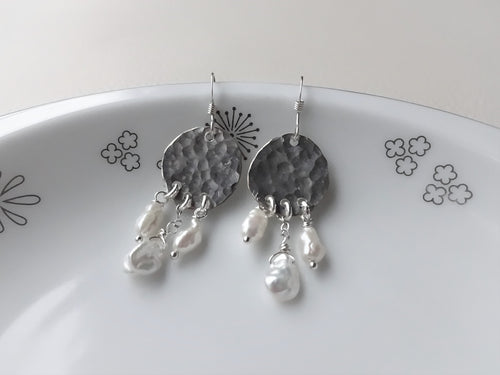 Silver Keshi Pearl Chandelier Earrings.