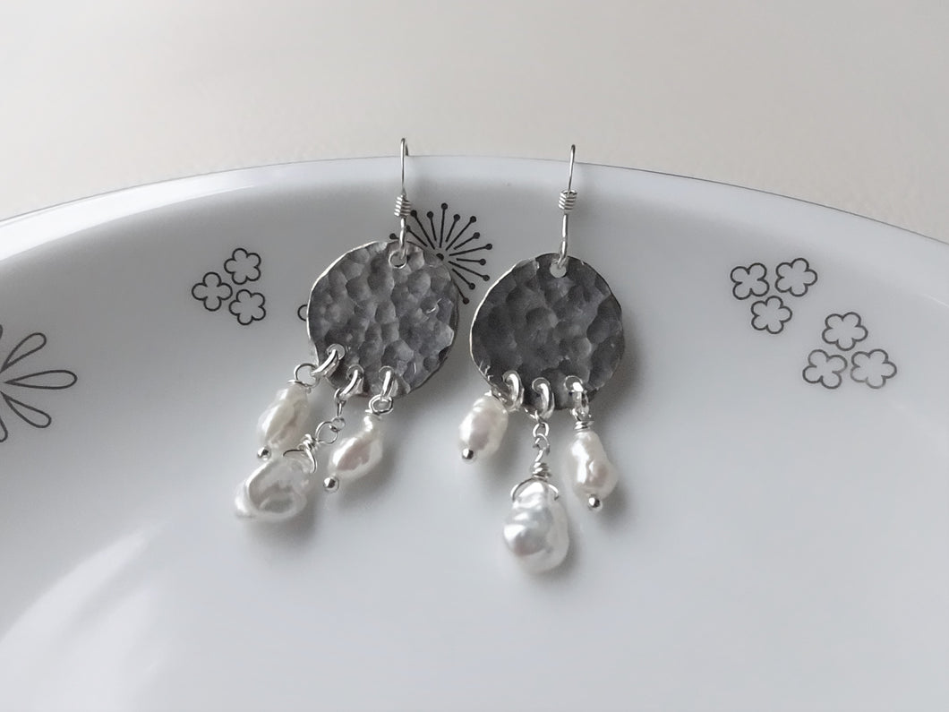 Silver Keshi Pearl Chandelier Earrings