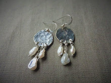 Load image into Gallery viewer, Silver Keshi Pearl Chandelier Earrings.