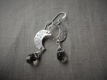 Load image into Gallery viewer, Crescent Moon Silver Earring With Smoky Quartz