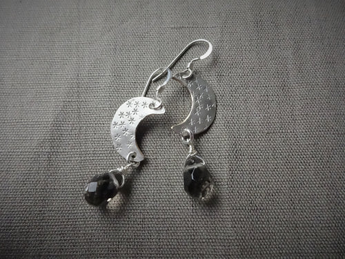 Silver Crescent Moon and Smoky Quartz Earrings.