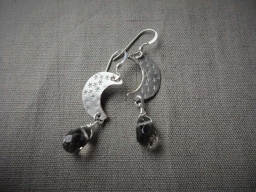 Silver Crescent Moon and Smoky Quartz Earrings