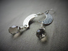 Load image into Gallery viewer, Silver Crescent Moon and Smoky Quartz Earrings
