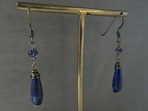 Lapis Lazuli Drop Earrings, Antique Gold Earrings, Clip-on, Gift Under 20