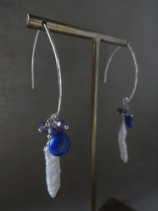 Lapis lazuli, Pearl Marquise Ear Wires Earrings, Large Leaf Earrings.