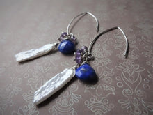 Load image into Gallery viewer, Lapis lazuli, Pearl Marquise Ear Wires Earrings, Large Leaf Earrings.