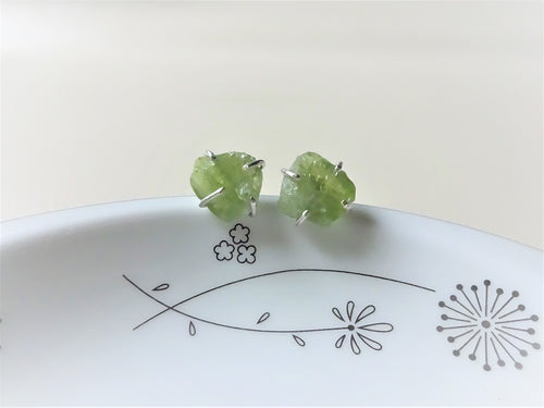 Peridot Sterling Silver Stud Earrings, Raw Stone Jewelry, Greenery Earrings