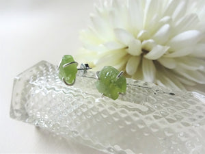 Peridot Sterling Silver Stud Earrings, Raw Stone Jewelry, Greenery Earrings.