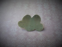 Load image into Gallery viewer, Happy Cloud Lapel Pin, Gold Pin Brooch, Hat Pin, Weather Jewelry.