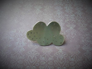 Happy Cloud Lapel Pin, Gold Pin Brooch, Hat Pin, Weather Jewelry