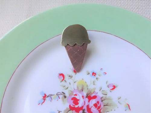 Ice Cream Lapel Pin, Cute Hat Pin, Summer Accessory.
