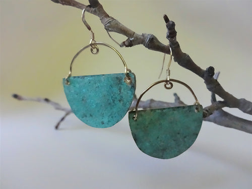 Half Moon, Turquoise Verdigris Patina Earrings.