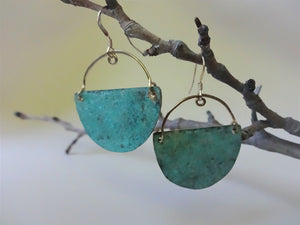 Half Moon, Turquoise Verdigris Patina Earrings, Statement Jewelry, Clip On