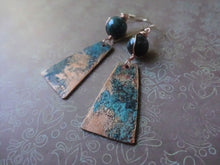 Load image into Gallery viewer, Verdigris Patina Earrings, Boho-chic One-of-a-kind Jewelry, Clip On.