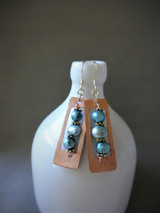 Copper Abacus Earrings With Aquamarine Color Pearls.